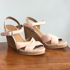 Light Pink Fabric Wedge Heels